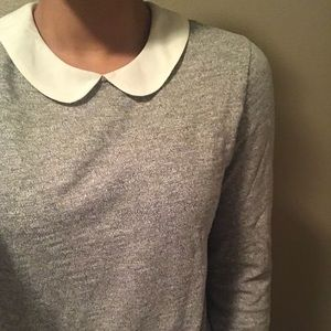 J Crew White Collar and Sleeve Grey Blouse